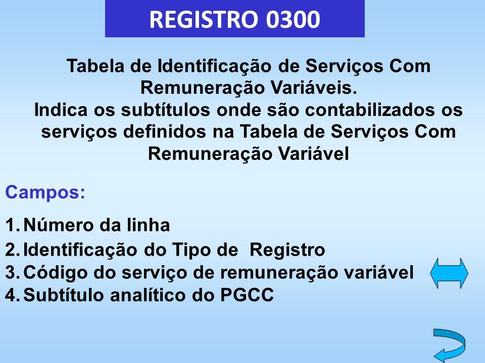 REGISTRO 0300 Tabela de Identificação de Serviços Com Remuneração Variáveis. Indica os subtítulos onde são contabilizados os serviços definidos na Tab