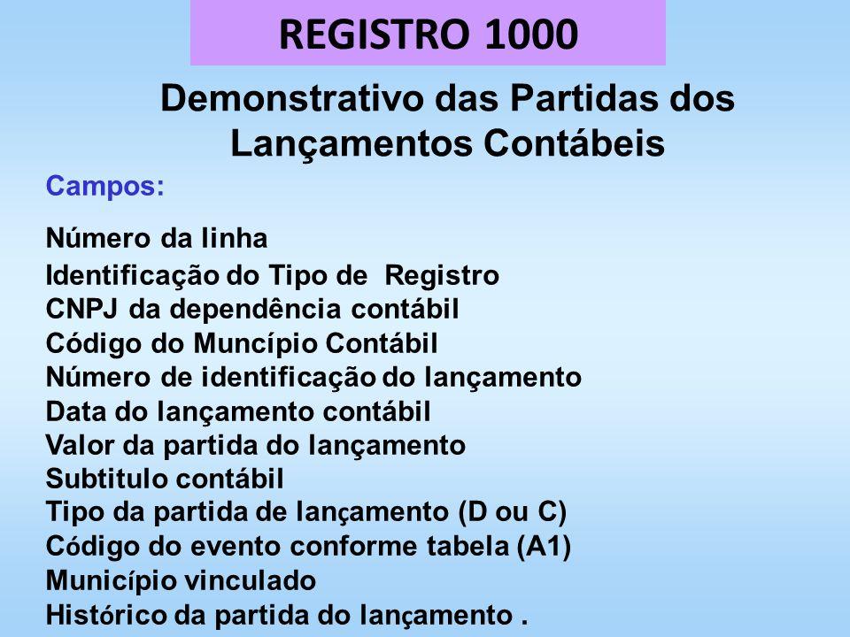 REGISTRO 1000 Demonstrativo das Partidas dos Lançamentos Contábeis Campos: Número da linha Identificação do Tipo de Registro CNPJ da dependência contá