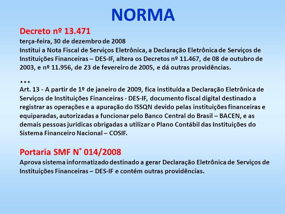 Decreto nº 13.471 terça-feira, 30 de dezembro de 2008 Institui a Nota Fiscal de Serviços Eletrônica, a Declaração Eletrônica de Serviços de Instituiçõ