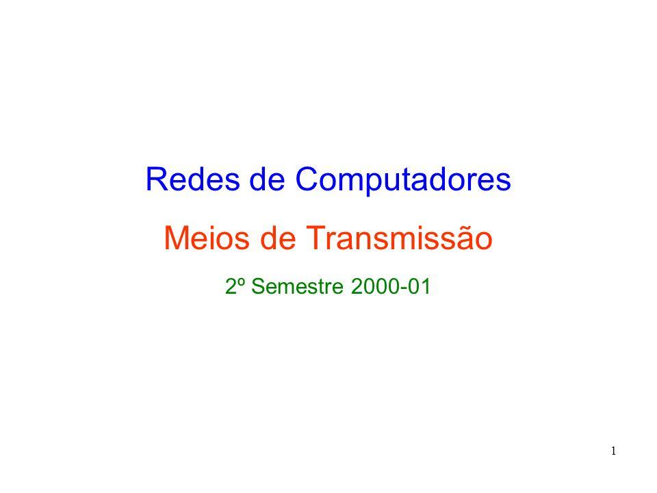 1 Redes de Computadores Meios de Transmissão 2º Semestre 2000-01