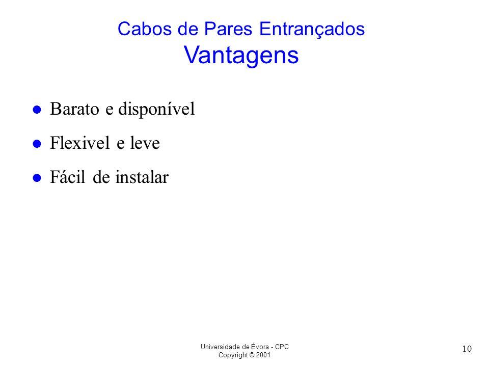 Universidade de Évora - CPC Copyright © 2001 10 l Barato e disponível l Flexivel e leve l Fácil de instalar Cabos de Pares Entrançados Vantagens