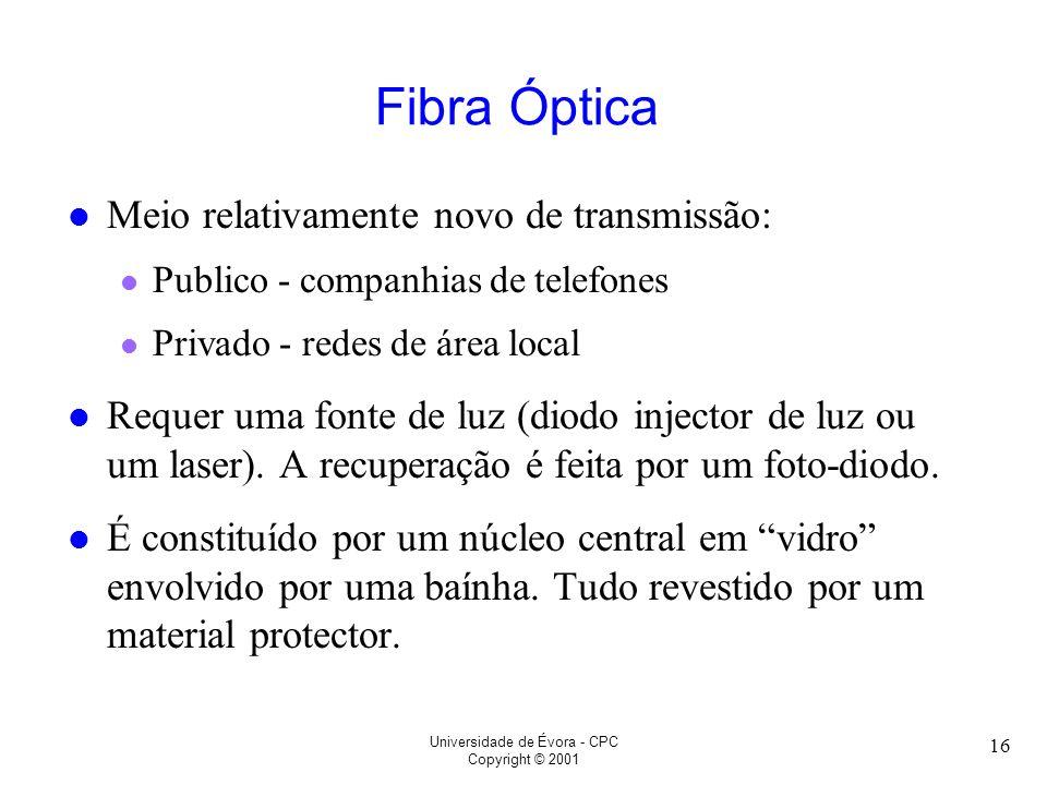 Universidade de Évora - CPC Copyright © 2001 16 Fibra Óptica l Meio relativamente novo de transmissão: l Publico - companhias de telefones l Privado -