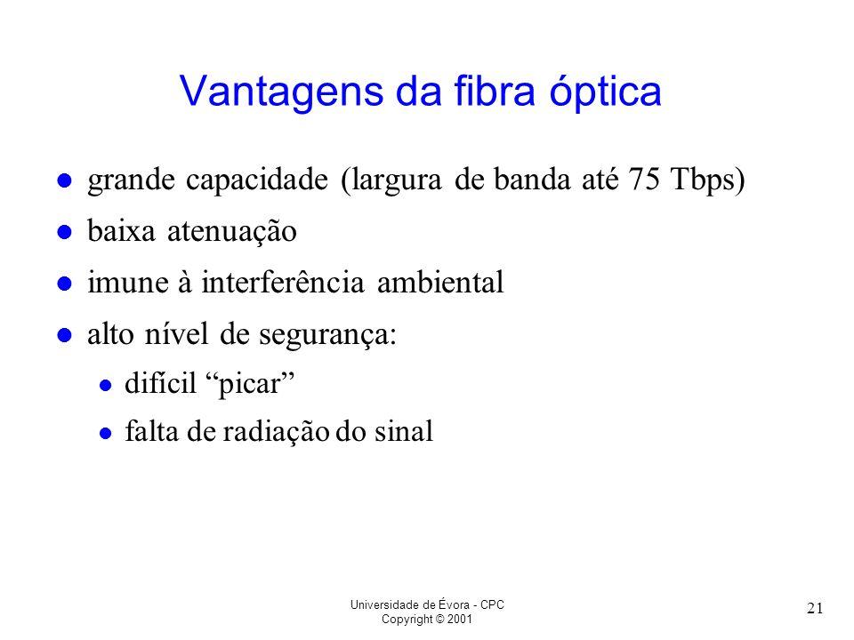 Universidade de Évora - CPC Copyright © 2001 21 Vantagens da fibra óptica l grande capacidade (largura de banda até 75 Tbps) l baixa atenuação l imune