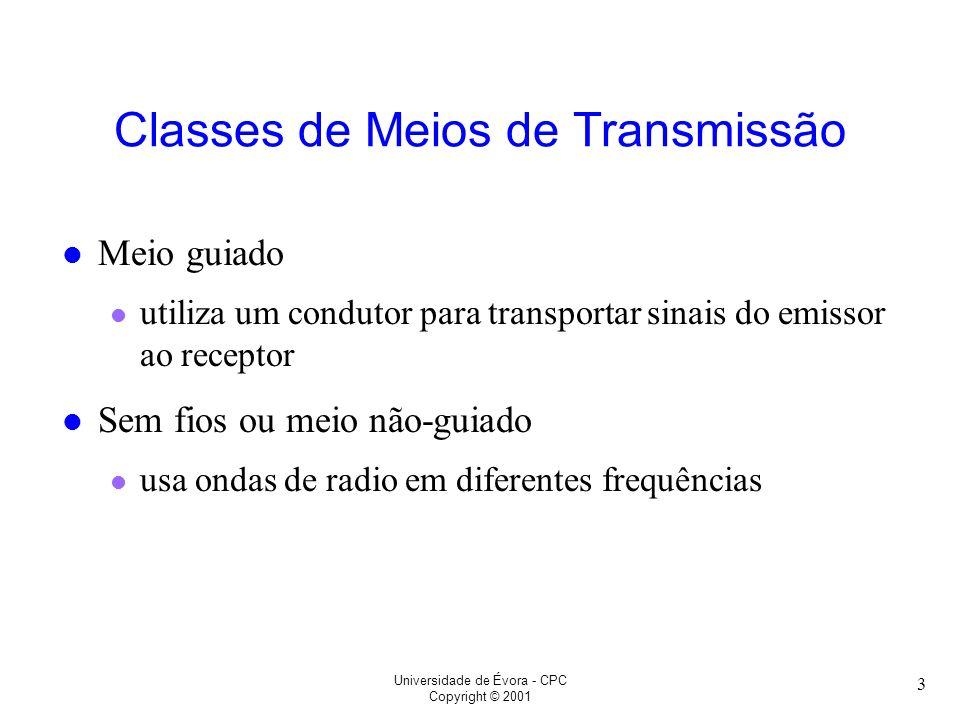 Universidade de Évora - CPC Copyright © 2001 3 Classes de Meios de Transmissão l Meio guiado l utiliza um condutor para transportar sinais do emissor