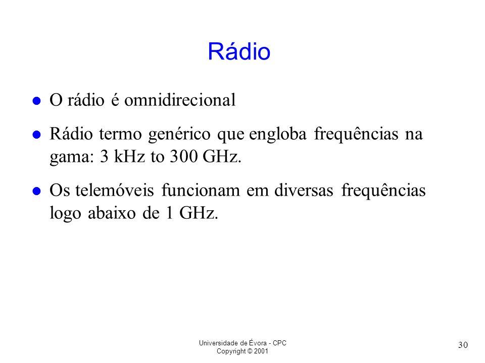 Universidade de Évora - CPC Copyright © 2001 30 Rádio l O rádio é omnidirecional l Rádio termo genérico que engloba frequências na gama: 3 kHz to 300