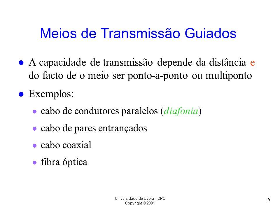 Universidade de Évora - CPC Copyright © 2001 6 Meios de Transmissão Guiados l A capacidade de transmissão depende da distância e do facto de o meio se