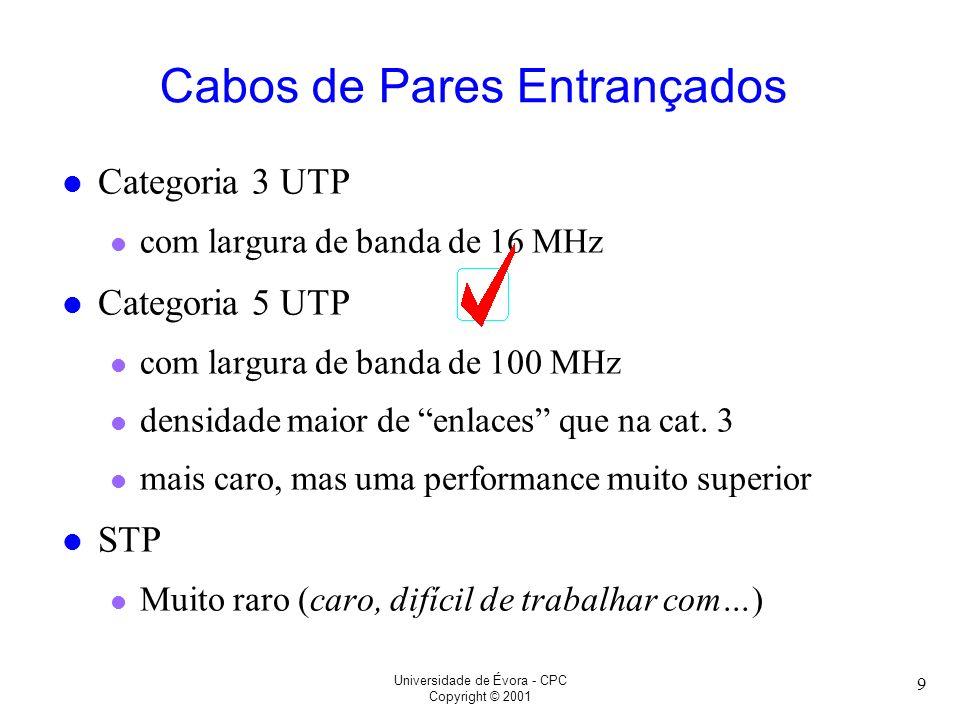 Universidade de Évora - CPC Copyright © 2001 9 l Categoria 3 UTP l com largura de banda de 16 MHz l Categoria 5 UTP l com largura de banda de 100 MHz