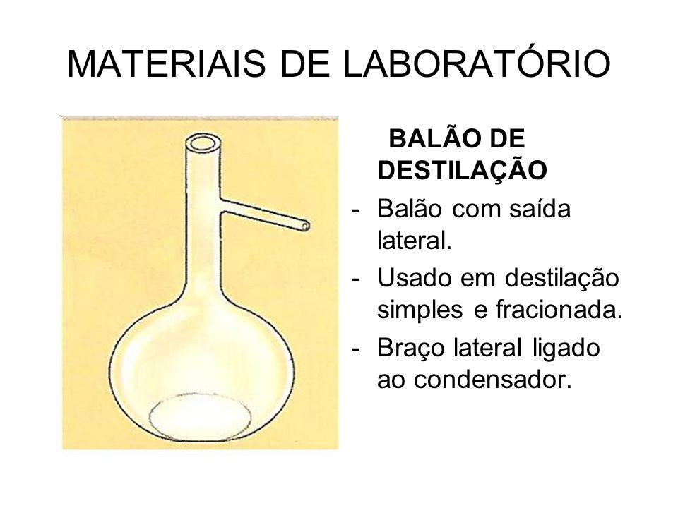 MATERIAIS DE LABORATÓRIO BALÃO DE DESTILAÇÃO -Balão com saída lateral. -Usado em destilação simples e fracionada. -Braço lateral ligado ao condensador