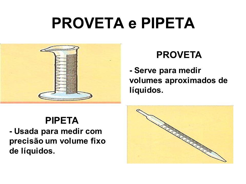 PROVETA e PIPETA PROVETA - Serve para medir volumes aproximados de líquidos. PIPETA - Usada para medir com precisão um volume fixo de líquidos.