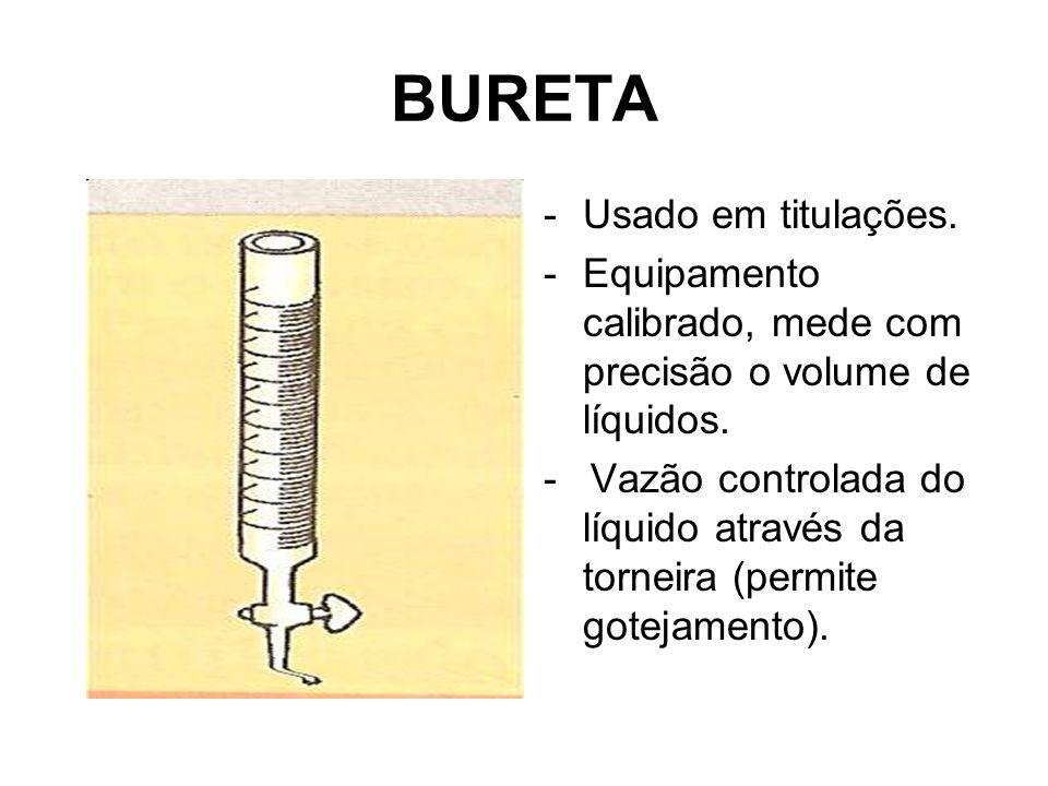 BURETA -Usado em titulações. -Equipamento calibrado, mede com precisão o volume de líquidos. - Vazão controlada do líquido através da torneira (permit