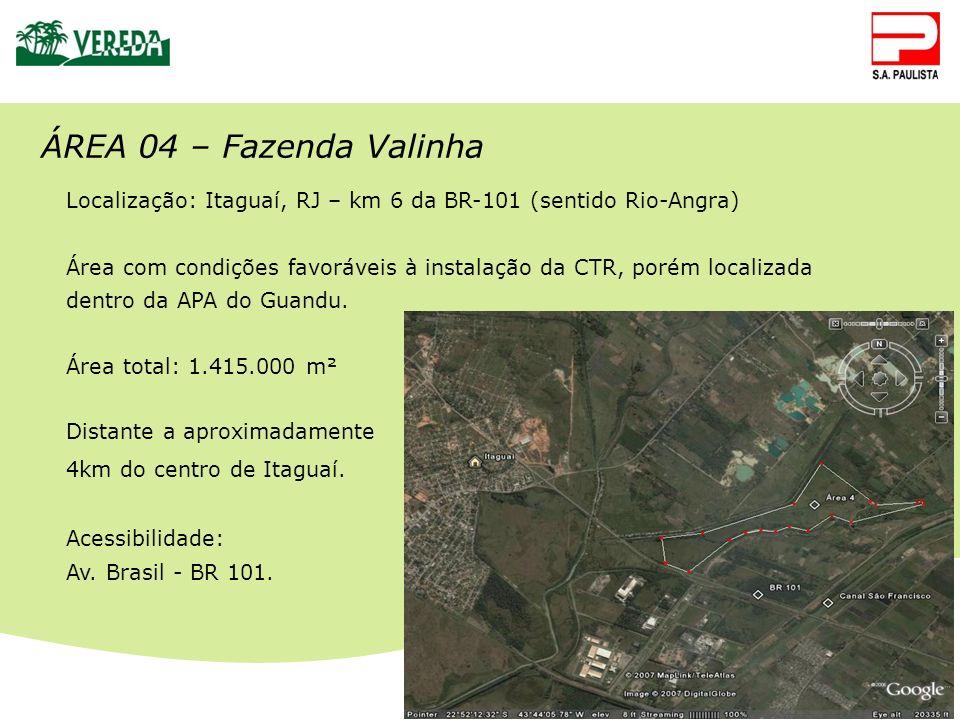 CTR Santa Rosa ÁREA 04 – Fazenda Valinha Localização: Itaguaí, RJ – km 6 da BR-101 (sentido Rio-Angra) Área com condições favoráveis à instalação da C