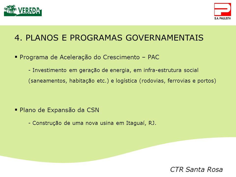 CTR Santa Rosa 4. PLANOS E PROGRAMAS GOVERNAMENTAIS Programa de Aceleração do Crescimento – PAC - Investimento em geração de energia, em infra-estrutu