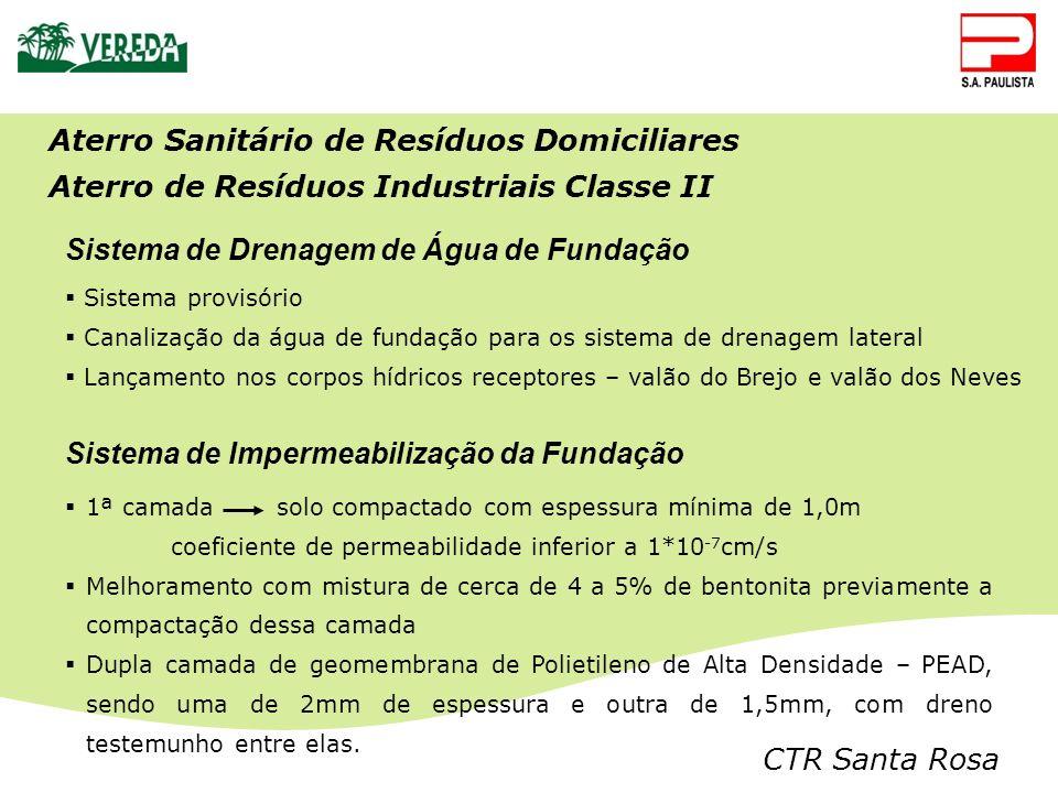 CTR Santa Rosa Aterro Sanitário de Resíduos Domiciliares Aterro de Resíduos Industriais Classe II Sistema de Impermeabilização da Fundação Sistema de