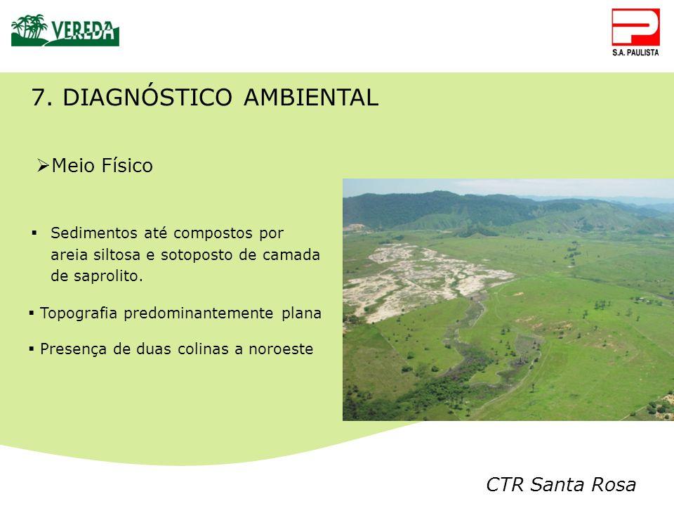CTR Santa Rosa 7. DIAGNÓSTICO AMBIENTAL Meio Físico Sedimentos até compostos por areia siltosa e sotoposto de camada de saprolito. Topografia predomin