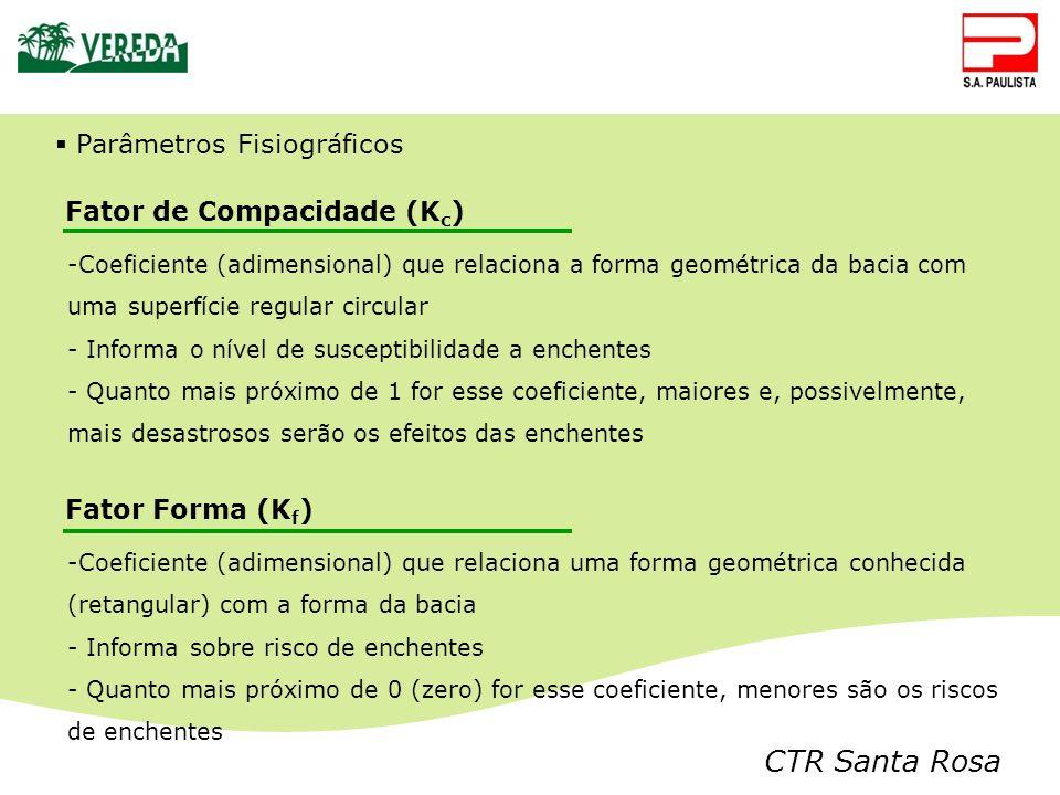 CTR Santa Rosa Parâmetros Fisiográficos Fator de Compacidade (K c ) -Coeficiente (adimensional) que relaciona a forma geométrica da bacia com uma supe