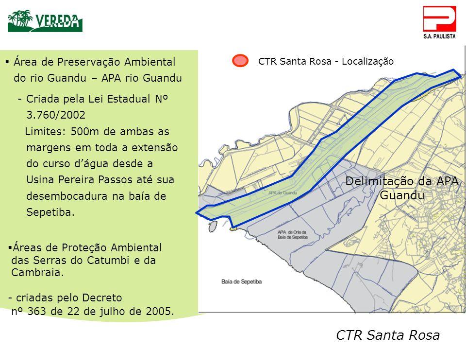 CTR Santa Rosa CTR Santa Rosa - Localização Área de Preservação Ambiental do rio Guandu – APA rio Guandu -Criada pela Lei Estadual Nº 3.760/2002 Limit