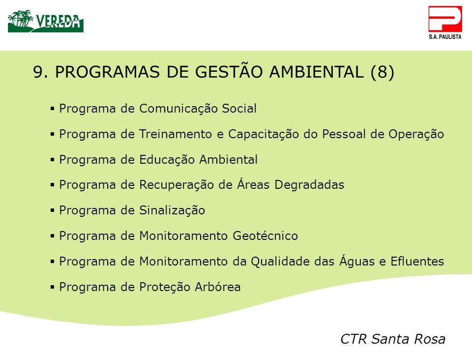 CTR Santa Rosa 9. PROGRAMAS DE GESTÃO AMBIENTAL (8) Programa de Comunicação Social Programa de Treinamento e Capacitação do Pessoal de Operação Progra