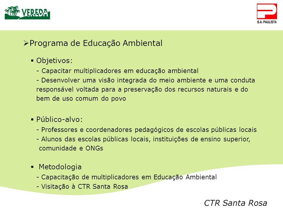CTR Santa Rosa Programa de Educação Ambiental Objetivos: - Capacitar multiplicadores em educação ambiental - Desenvolver uma visão integrada do meio a