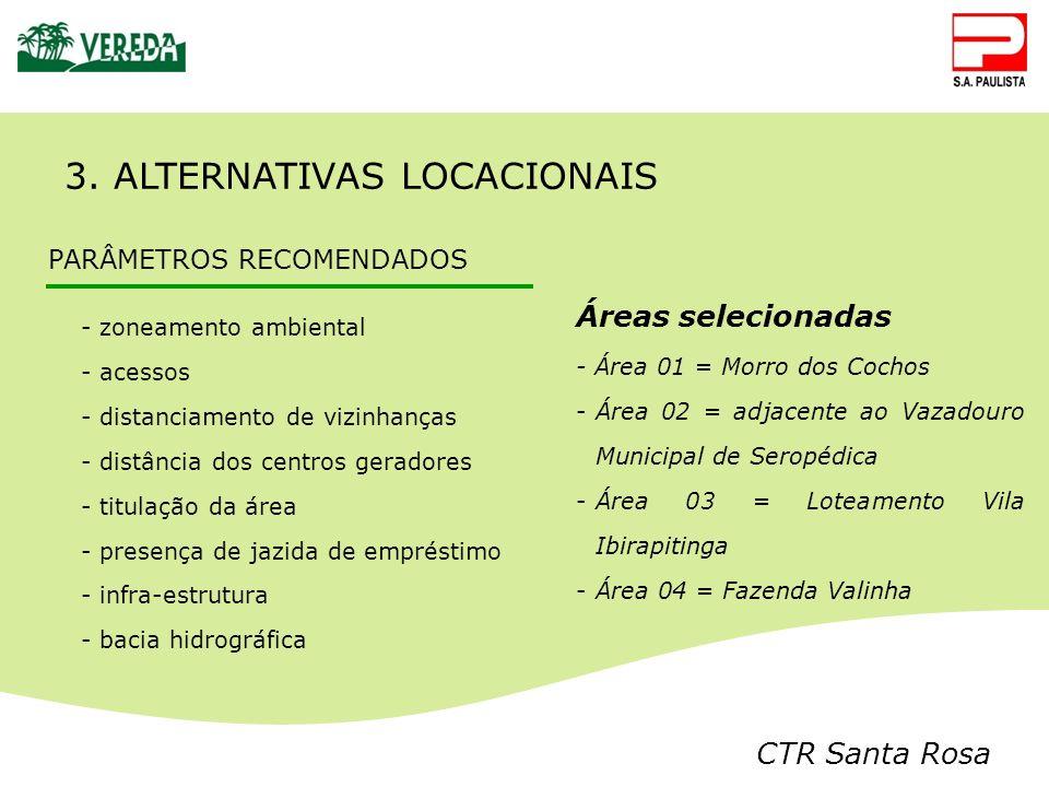 CTR Santa Rosa 3. ALTERNATIVAS LOCACIONAIS - zoneamento ambiental - acessos - distanciamento de vizinhanças - distância dos centros geradores - titula
