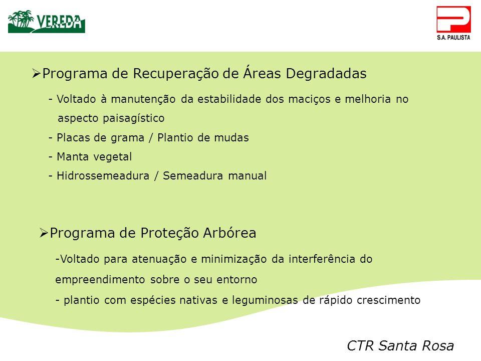 CTR Santa Rosa Programa de Recuperação de Áreas Degradadas - Voltado à manutenção da estabilidade dos maciços e melhoria no aspecto paisagístico - Pla