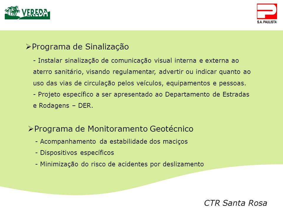 CTR Santa Rosa - Instalar sinalização de comunicação visual interna e externa ao aterro sanitário, visando regulamentar, advertir ou indicar quanto ao
