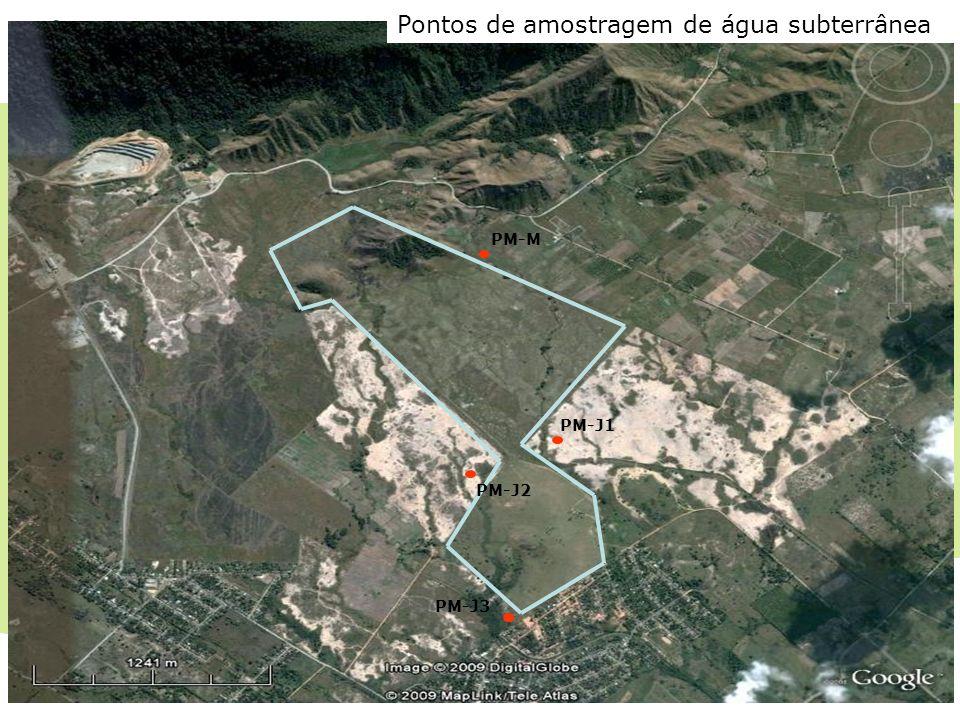 CTR Santa Rosa PM-M PM-J1 PM-J2 PM-J3 Pontos de amostragem de água subterrânea