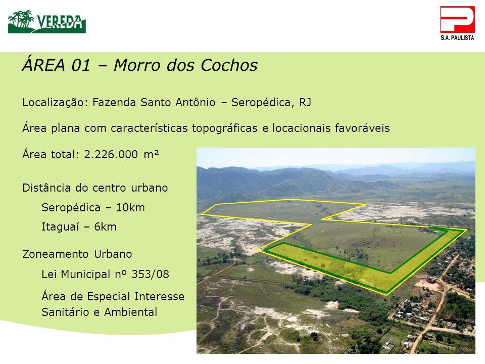 ÁREA 01 – Morro dos Cochos Localização: Fazenda Santo Antônio – Seropédica, RJ Área plana com características topográficas e locacionais favoráveis Ár