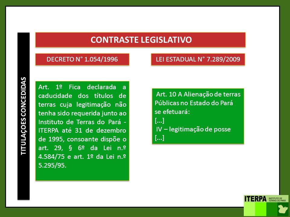 TITULAÇOES CONCEDIDAS CONTRASTE LEGISLATIVO DECRETO N° 1.054/1996 Art. 1º Fica declarada a caducidade dos títulos de terras cuja legitimação não tenha