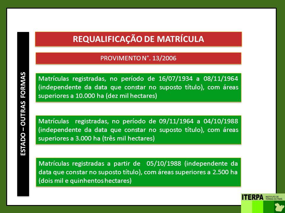 ESTADO – OUTRAS FORMAS REQUALIFICAÇÃO DE MATRÍCULA PROVIMENTO N°. 13/2006 Matrículas registradas, no período de 16/07/1934 a 08/11/1964 (independente