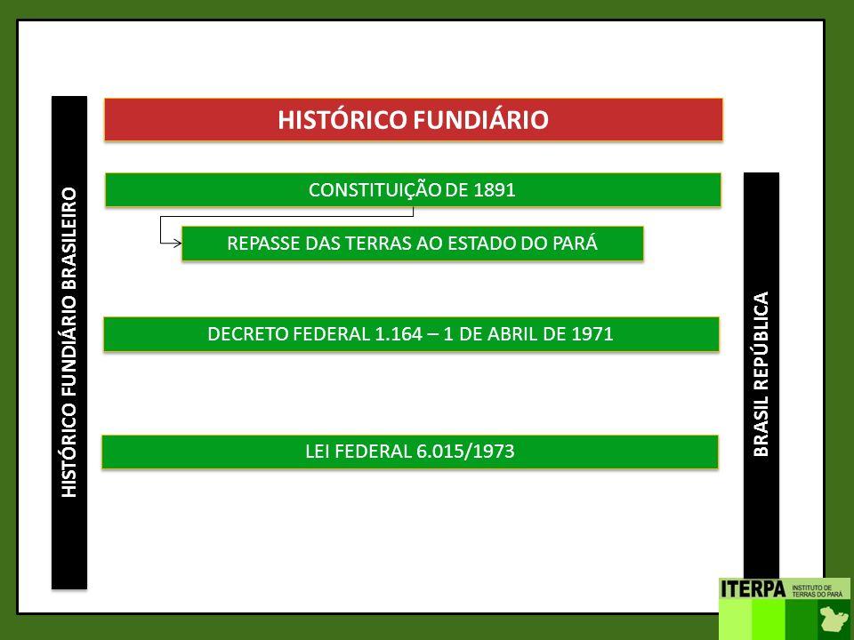 HISTÓRICO FUNDIÁRIO BRASILEIRO HISTÓRICO FUNDIÁRIO CONSTITUIÇÃO DE 1891 DECRETO FEDERAL 1.164 – 1 DE ABRIL DE 1971 REPASSE DAS TERRAS AO ESTADO DO PAR