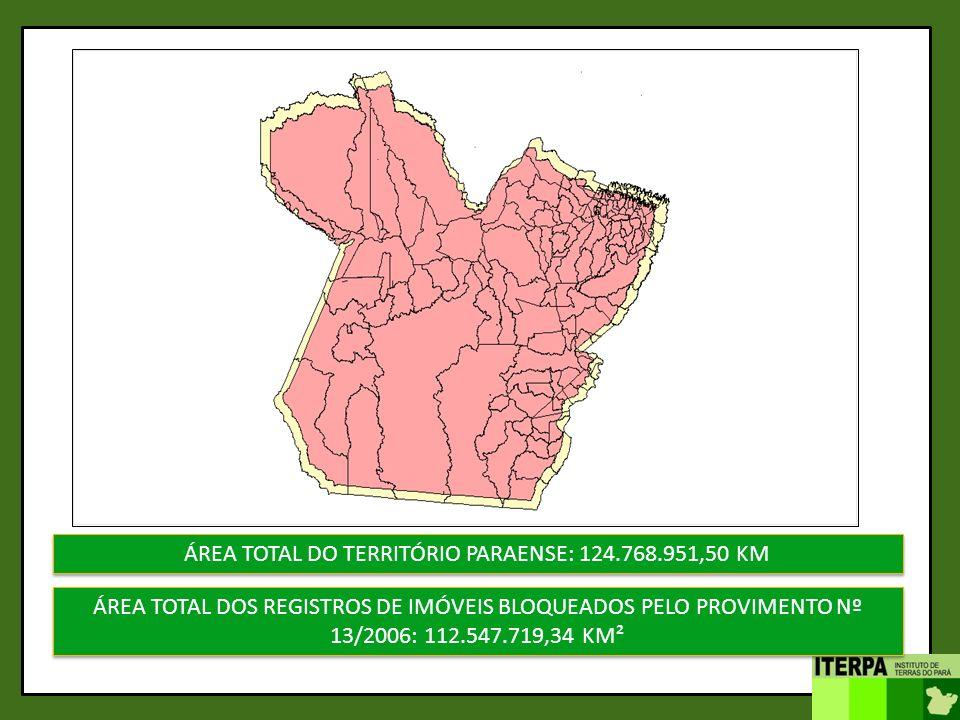 ÁREA TOTAL DO TERRITÓRIO PARAENSE: 124.768.951,50 KM ÁREA TOTAL DOS REGISTROS DE IMÓVEIS BLOQUEADOS PELO PROVIMENTO Nº 13/2006: 112.547.719,34 KM²