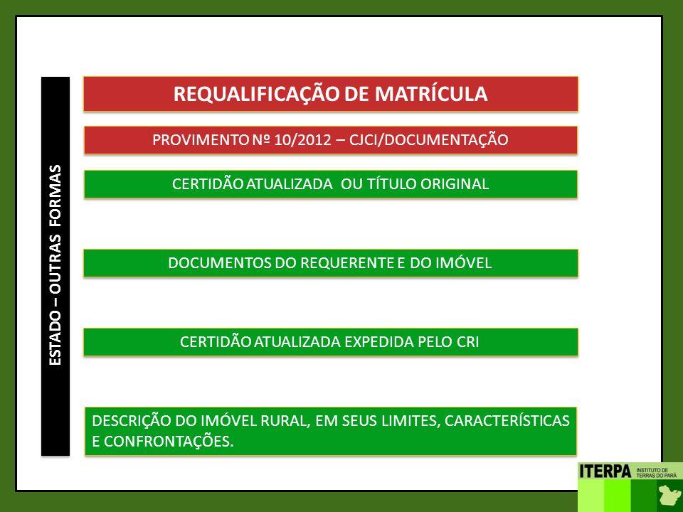 ESTADO – OUTRAS FORMAS REQUALIFICAÇÃO DE MATRÍCULA PROVIMENTO Nº 10/2012 – CJCI/DOCUMENTAÇÃO CERTIDÃO ATUALIZADA OU TÍTULO ORIGINAL DOCUMENTOS DO REQU