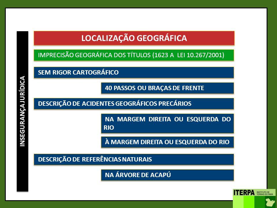 INSEGURANÇA JURÍDICA LOCALIZAÇÃO GEOGRÁFICA IMPRECISÃO GEOGRÁFICA DOS TÍTULOS (1623 A LEI 10.267/2001) SEM RIGOR CARTOGRÁFICO DESCRIÇÃO DE ACIDENTES G
