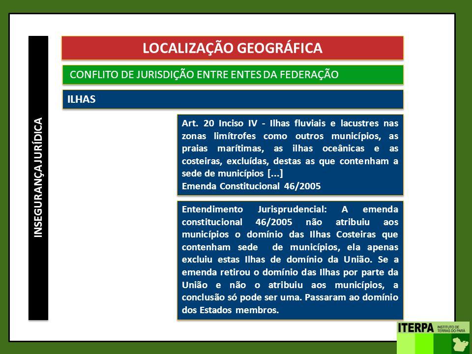 INSEGURANÇA JURÍDICA LOCALIZAÇÃO GEOGRÁFICA CONFLITO DE JURISDIÇÃO ENTRE ENTES DA FEDERAÇÃO ILHAS Art. 20 Inciso IV - Ilhas fluviais e lacustres nas z