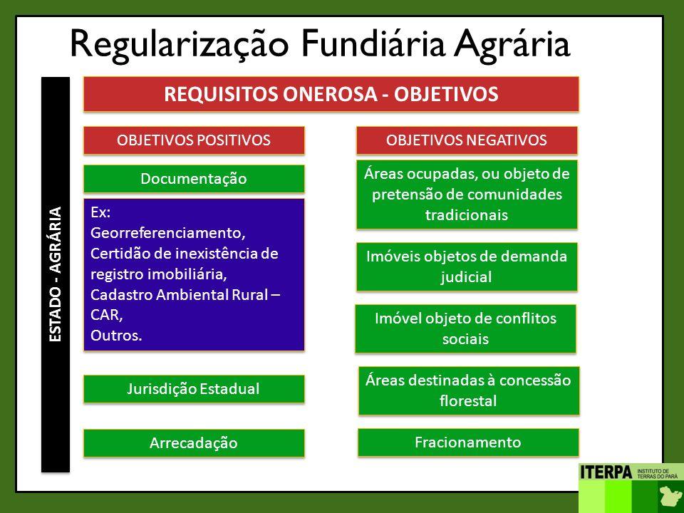 Regularização Fundiária Agrária ESTADO - AGRÁRIA REQUISITOS ONEROSA - OBJETIVOS OBJETIVOS POSITIVOS Documentação OBJETIVOS NEGATIVOS Áreas ocupadas, o