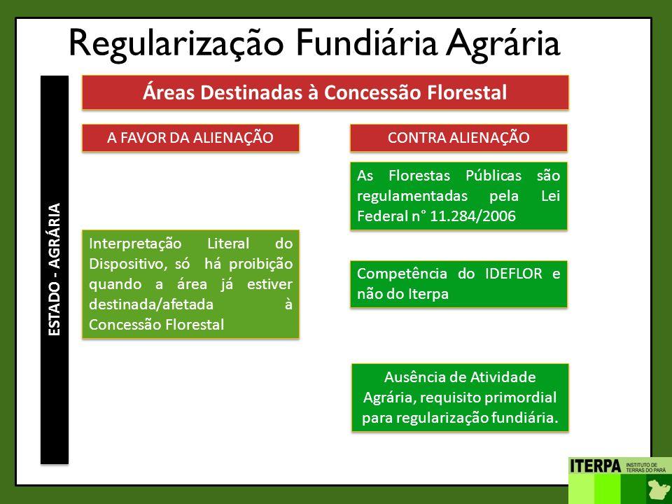 Regularização Fundiária Agrária ESTADO - AGRÁRIA Áreas Destinadas à Concessão Florestal A FAVOR DA ALIENAÇÃO CONTRA ALIENAÇÃO As Florestas Públicas sã