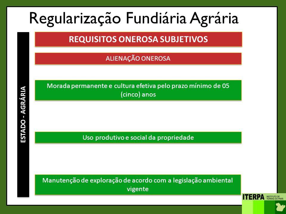 Regularização Fundiária Agrária ESTADO - AGRÁRIA REQUISITOS ONEROSA SUBJETIVOS ALIENAÇÃO ONEROSA Morada permanente e cultura efetiva pelo prazo mínimo