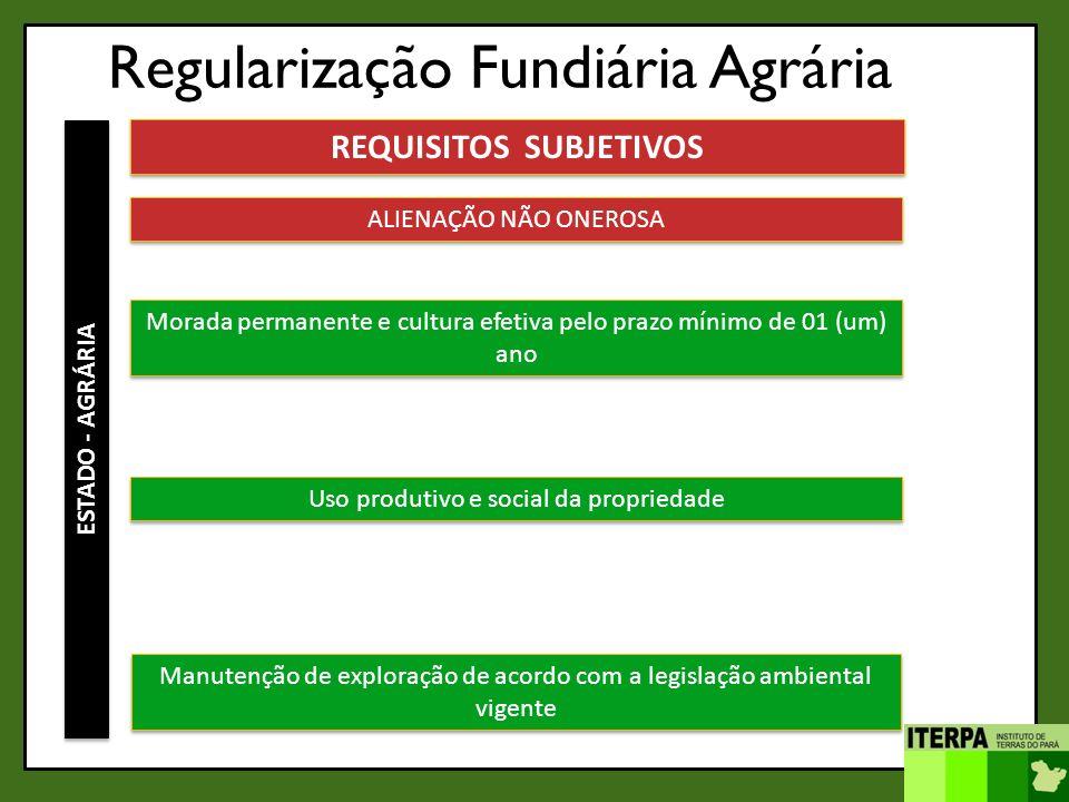 Regularização Fundiária Agrária ESTADO - AGRÁRIA REQUISITOS SUBJETIVOS ALIENAÇÃO NÃO ONEROSA Morada permanente e cultura efetiva pelo prazo mínimo de