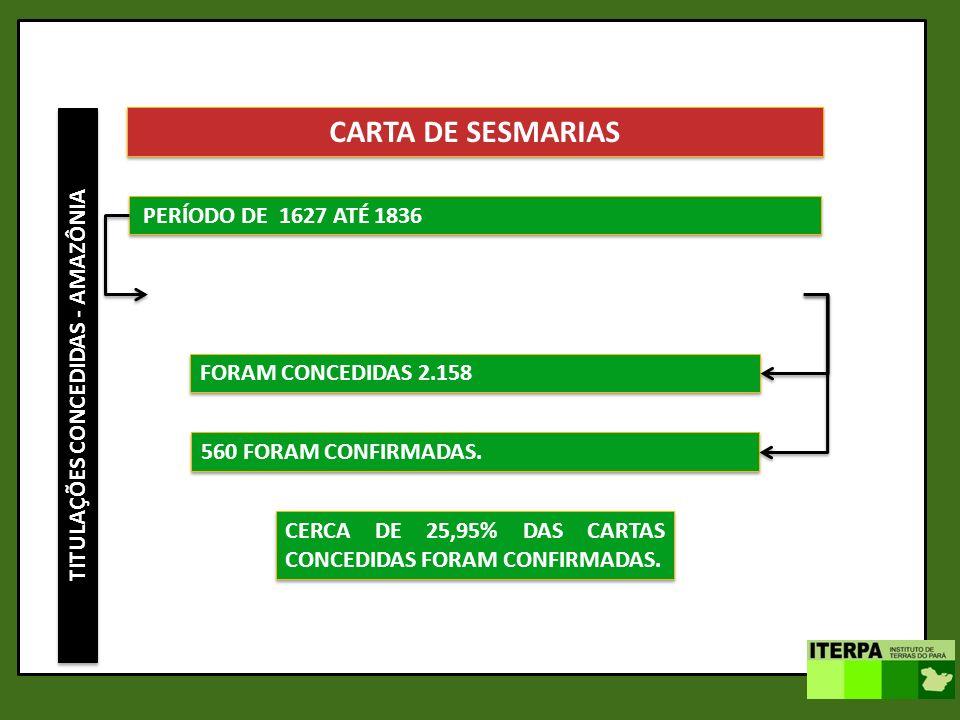 TITULAÇÕES CONCEDIDAS - AMAZÔNIA CARTA DE SESMARIAS PERÍODO DE 1627 ATÉ 1836 FORAM CONCEDIDAS 2.158 560 FORAM CONFIRMADAS. CERCA DE 25,95% DAS CARTAS