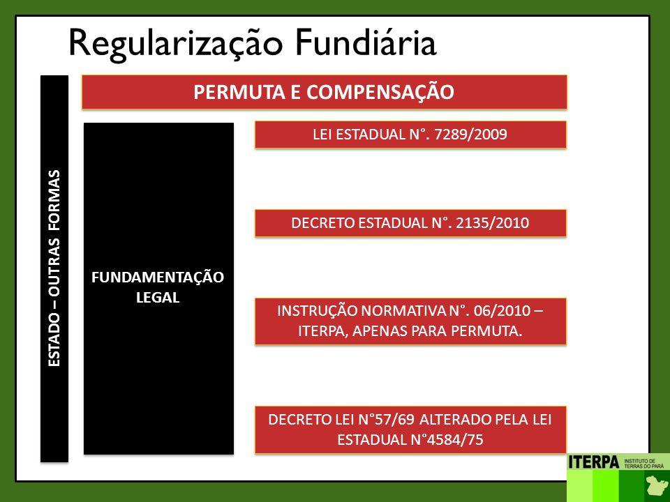Regularização Fundiária ESTADO – OUTRAS FORMAS PERMUTA E COMPENSAÇÃO FUNDAMENTAÇÃO LEGAL LEI ESTADUAL N°. 7289/2009 DECRETO ESTADUAL N°. 2135/2010 INS