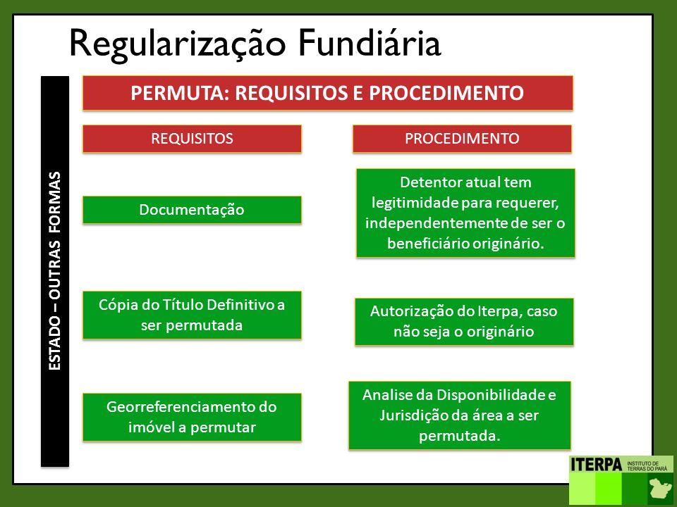 Regularização Fundiária ESTADO – OUTRAS FORMAS PERMUTA: REQUISITOS E PROCEDIMENTO REQUISITOS Documentação PROCEDIMENTO Detentor atual tem legitimidade