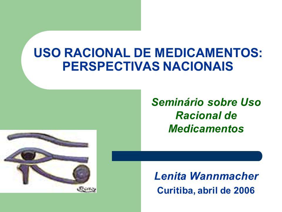 USO RACIONAL DE MEDICAMENTOS: PERSPECTIVAS NACIONAIS Seminário sobre Uso Racional de Medicamentos Lenita Wannmacher Curitiba, abril de 2006