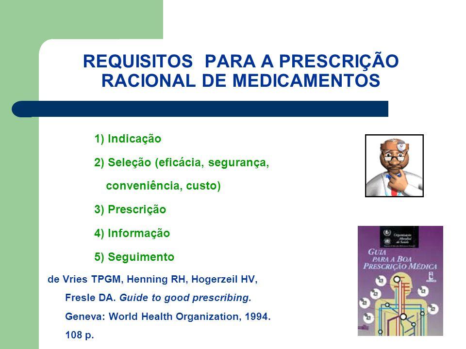 REQUISITOS PARA A PRESCRIÇÃO RACIONAL DE MEDICAMENTOS 1) Indicação 2) Seleção (eficácia, segurança, conveniência, custo) 3) Prescrição 4) Informação 5) Seguimento de Vries TPGM, Henning RH, Hogerzeil HV, Fresle DA.