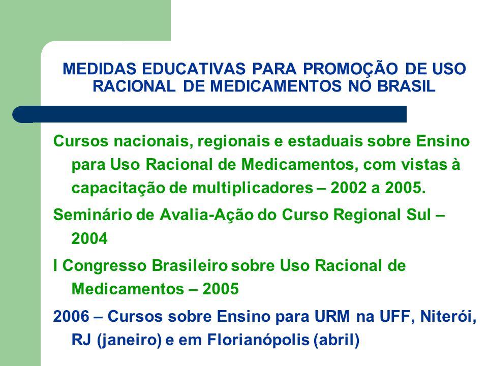 MEDIDAS EDUCATIVAS PARA PROMOÇÃO DE USO RACIONAL DE MEDICAMENTOS NO BRASIL Cursos nacionais, regionais e estaduais sobre Ensino para Uso Racional de Medicamentos, com vistas à capacitação de multiplicadores – 2002 a 2005.