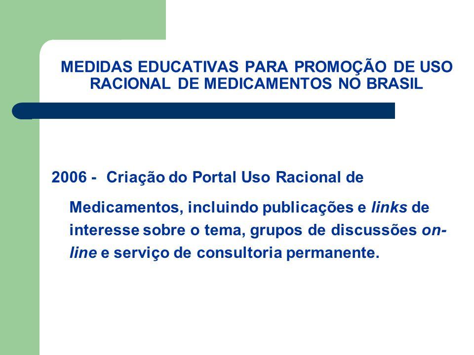 MEDIDAS EDUCATIVAS PARA PROMOÇÃO DE USO RACIONAL DE MEDICAMENTOS NO BRASIL 2006 - Criação do Portal Uso Racional de Medicamentos, incluindo publicações e links de interesse sobre o tema, grupos de discussões on- line e serviço de consultoria permanente.