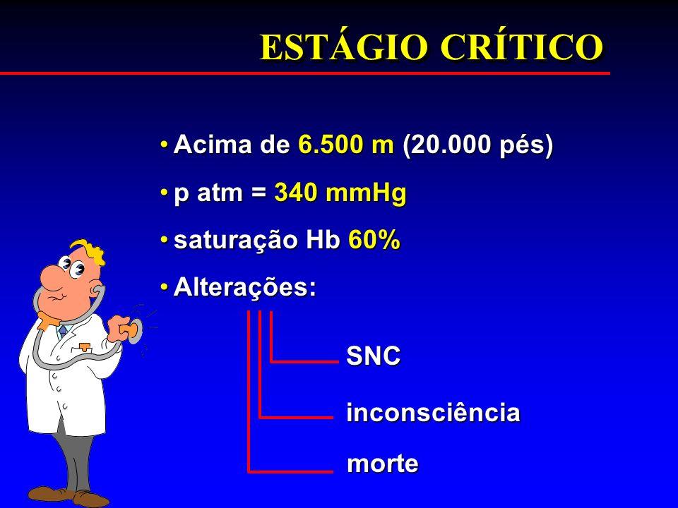 ESTÁGIO CRÍTICO Acima de 6.500 m (20.000 pés)Acima de 6.500 m (20.000 pés) p atm = 340 mmHgp atm = 340 mmHg saturação Hb 60%saturação Hb 60% Alteraçõe