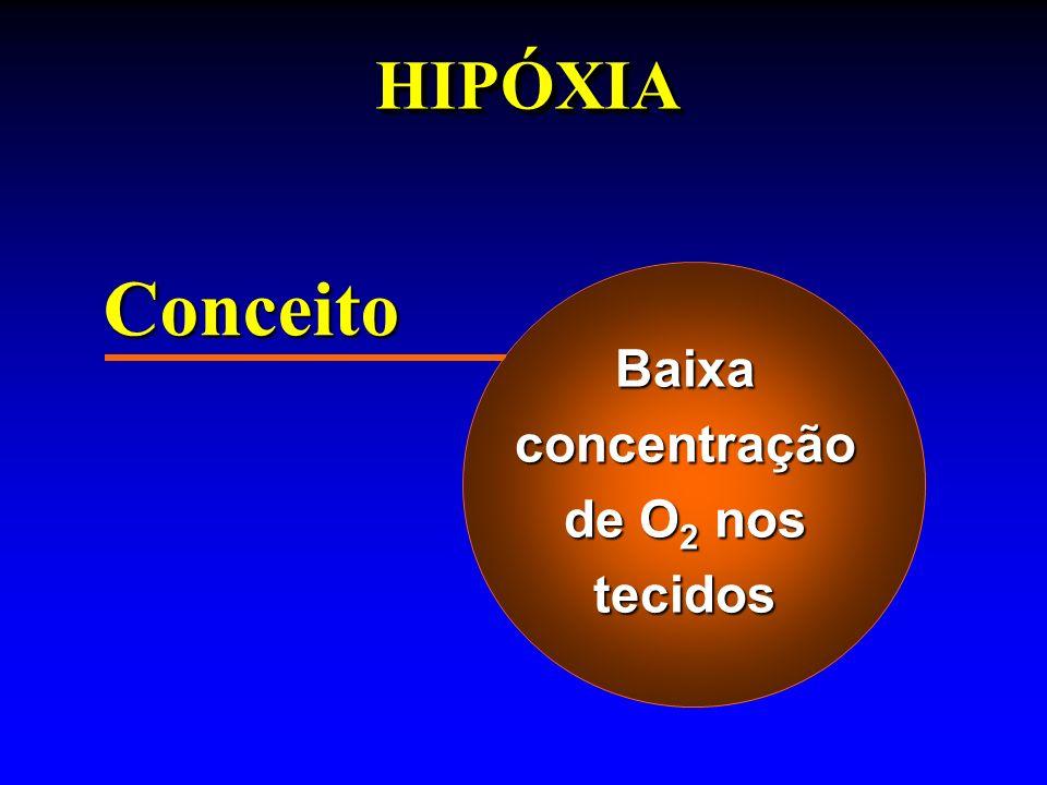 Classificação Hipóxia Hipoxêmica: deficiências de O 2 no sangue arterial, devido à queda da pO 2 alveolarHipóxia Hipoxêmica: deficiências de O 2 no sangue arterial, devido à queda da pO 2 alveolar altitude / asma / pneumonia / obstrução / shunts / etc.