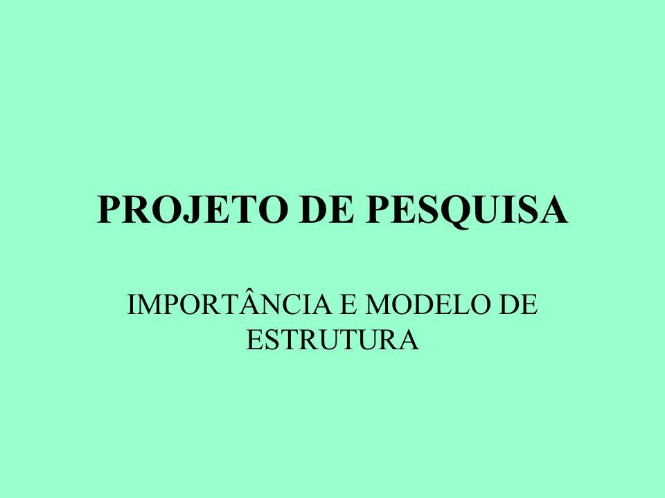 PROJETO DE PESQUISA IMPORTÂNCIA E MODELO DE ESTRUTURA