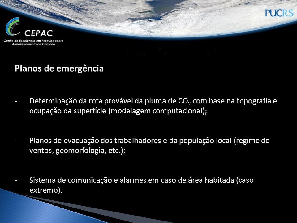 Planos de emergência -Determinação da rota provável da pluma de CO 2 com base na topografia e ocupação da superfície (modelagem computacional); -Planos de evacuação dos trabalhadores e da população local (regime de ventos, geomorfologia, etc.); -Sistema de comunicação e alarmes em caso de área habitada (caso extremo).