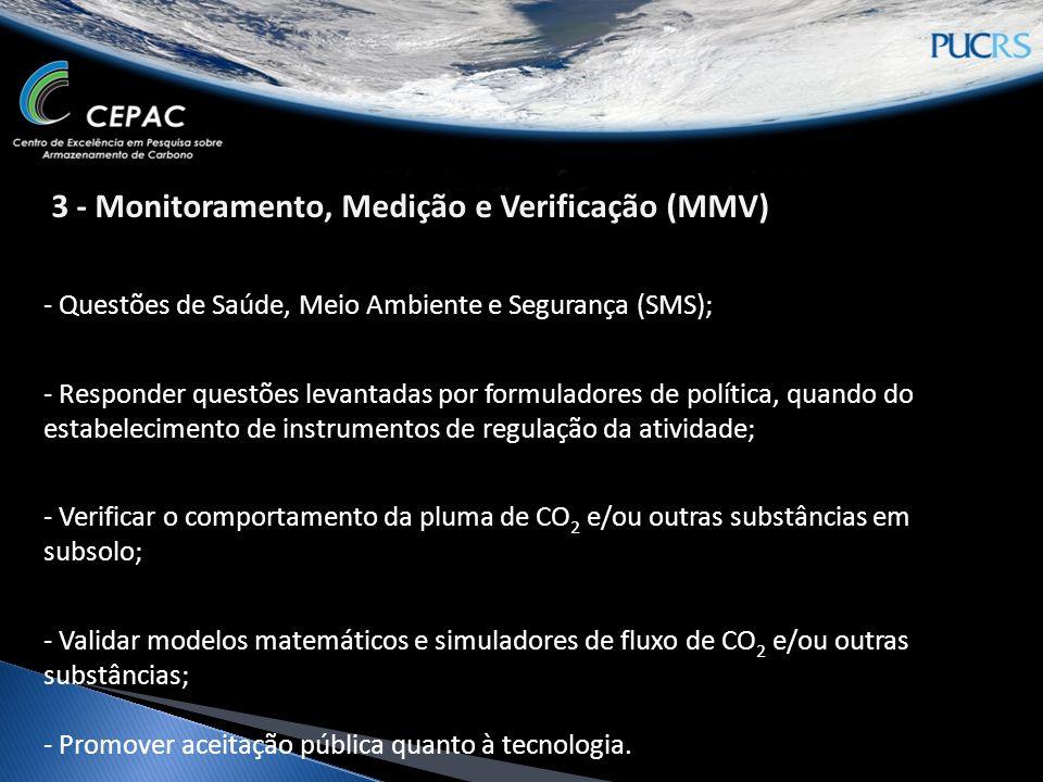 - Questões de Saúde, Meio Ambiente e Segurança (SMS); - Responder questões levantadas por formuladores de política, quando do estabelecimento de instrumentos de regulação da atividade; - Verificar o comportamento da pluma de CO 2 e/ou outras substâncias em subsolo; - Validar modelos matemáticos e simuladores de fluxo de CO 2 e/ou outras substâncias; - Promover aceitação pública quanto à tecnologia.